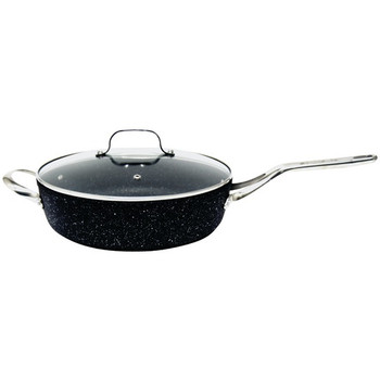 """THE ROCK(TM) by Starfrit(R) 11"""", 4.7-Quart Deep Saute Pan with Glass Lid & Stainless Steel Handles"""