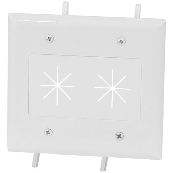 2-Gang Cable Plate with Flexible Opening (White)