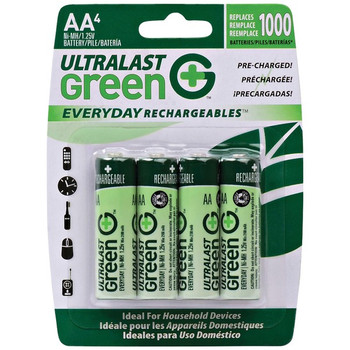 Green Everyday Rechargeables AA NiMH Batteries, 4 pk