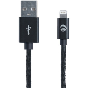 Charge & Sync Braided USB to Lightning(R) Cable, 4ft (Black)