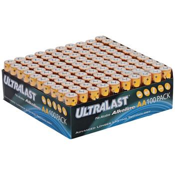 ULA100AAB Alkaline AA Batteries, 100 pk