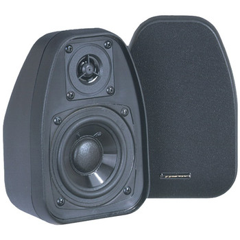 125-Watt 2-Way 3.5-Inch Speakers with Keyholes for Versatile Mounting (Black)