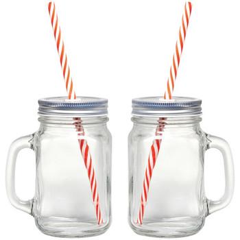 16-Ounce Mason Jar Mugs, 2 pk with Straws