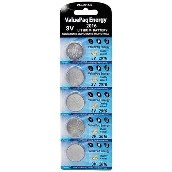 ValuePaq Energy 2016 Lithium Coin Cell Batteries, 5 pk