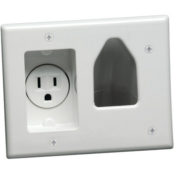 2-Gang Recessed Low-Voltage Cable Plate with Recessed Power (White)