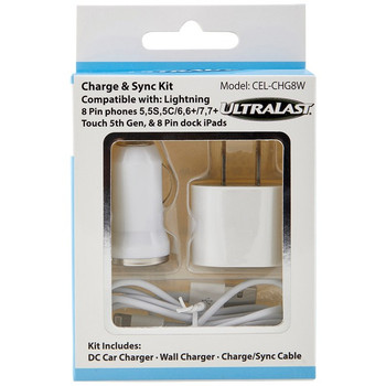 Charge & Sync Kit with Lightning(R) to USB Cable (White)