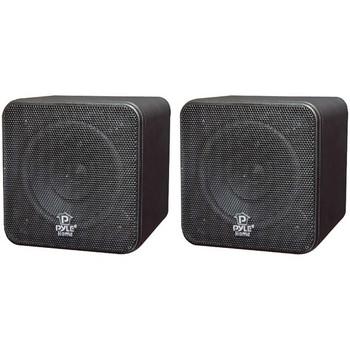 "4"" 200-Watt Mini-Cube Bookshelf Speakers (Black)"