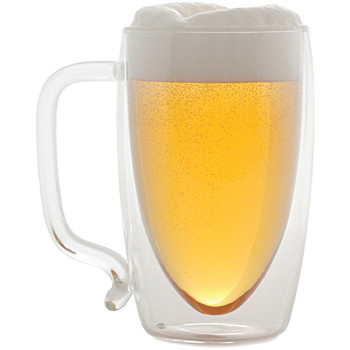 17-Ounce Double-Wall Glass Beer Mug
