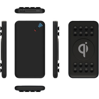 Qi(R) Wireless Charging Box with Suction Cups and USB Output