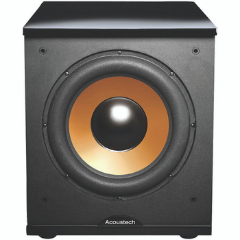 """500-Watt Acoustech 12"""" Front-Firing Powered Subwoofer with Black Lacquer Top"""