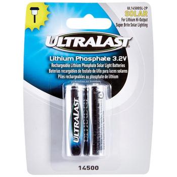 UL14500SL-2P 14500 Lithium Batteries for Solar Lighting, 2 pk