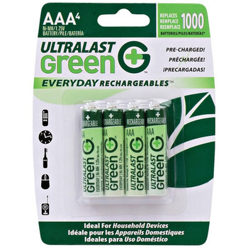 Green Everyday Rechargeables AAA NiMH Batteries, 4 pk