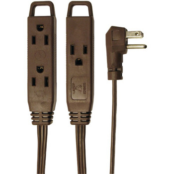 3-Outlet Brown Wall-Hugger Indoor Grounded Extension Cord, 8ft