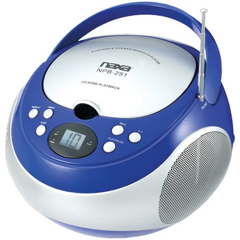 Portable CD Player with AM/FM Radio (Blue)