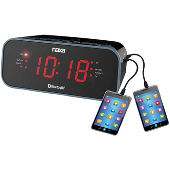 Bluetooth(R) Dual Alarm Clock Radio with 2 USB Charge Ports