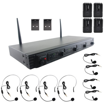 UHF Quad-Channel Fixed-Frequency Wireless Microphone System