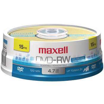 4.7GB 120-Minute DVD-RWs, 15-ct Spindle