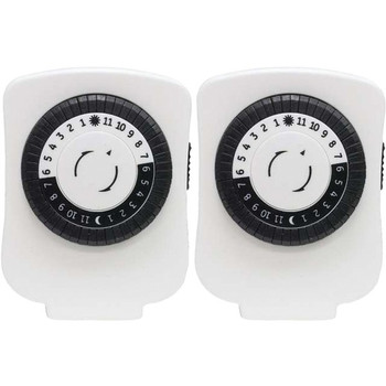 Indoor Plug-In 24-Hour Basic Mechanical Timers, 2 Pack