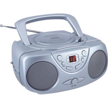 Portable CD Boom Box with AM/FM Radio (Silver)