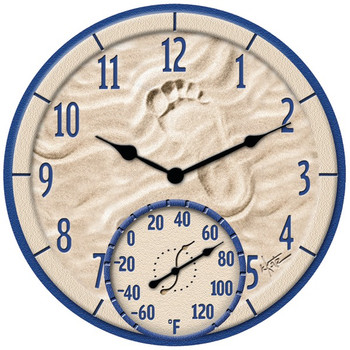 """14"""" Poly Resin Clock with Thermometer (By the Sea)"""