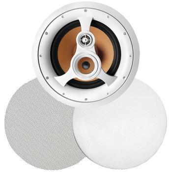 """250-Watt 3-Way 10"""" In-Ceiling Speaker with Pivoting Tweeter & Midrange Plus Metal & Cloth Grilles"""
