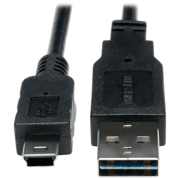 A-Male to Mini B-Male Reversible USB 2.0 Cable, 3ft