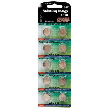 ValuePaq Energy AG10 Alkaline Button Cell Batteries, 10 Pack