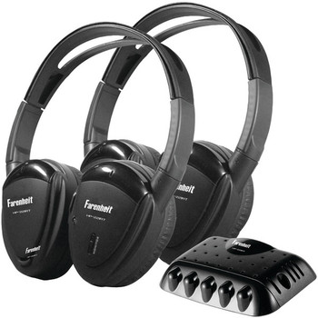2 Sets of Dual-Channel IR Wireless Headphones with Transmitter for use with Power Acoustik(R) Mobile A/V systems