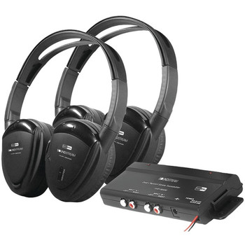 2 Sets of 2-Channel RF 900MHz Wireless Headphones with Transmitter for Power Acoustik(R) Mobile A/V Systems