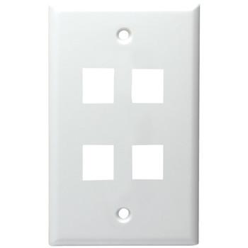 4-Port Standard Size Keystone Wall Plate (White)