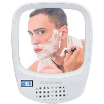 Fogless Light-up Mirror and Bluetooth(R) Splashproof Speaker with AM/FM Radio
