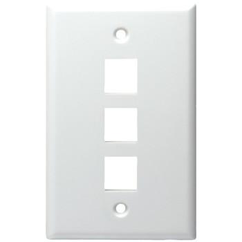 3-Port Standard Size Keystone Wall Plate (White)