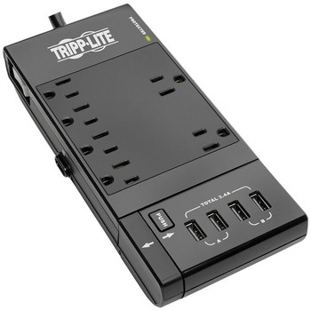 Protect It!(R) 6-Outlet Surge Protector with 4 USB Ports, 6ft Cord