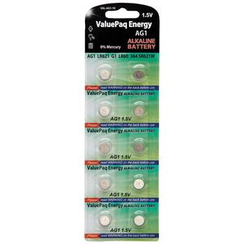 ValuePaq Energy AG1 Alkaline Button Cell Batteries, 10 Pack