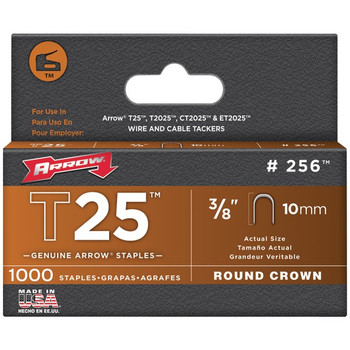 T25(TM) Round Crown Staples, 1,000 Pack (3/8 Inch)
