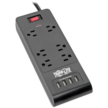 Protect It!(R) 6-Outlet Surge Protector with 4 USB Ports, 6ft Cord - TRPTLP664USBB