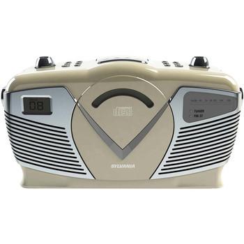 Retro-Style Portable CD Radio Boom Box (Creme)
