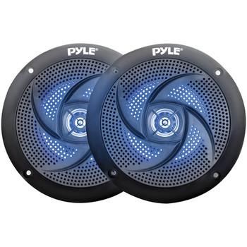 4-Inch 100-Watt Low-Profile Waterproof Marine Speakers with LEDs