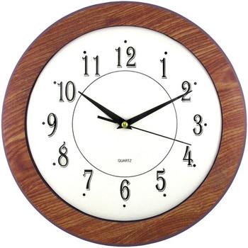 "12"" Wood Grain Round Wall Clock"