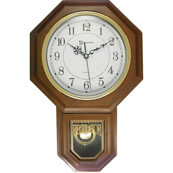 "Essex 18.75"" Modern Pendulum Wall Clock (Faux Wood)"