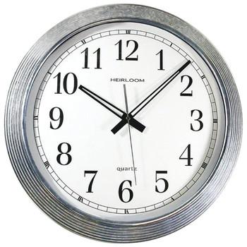 "16"" Galvanized Metal Silver Wall Clock"