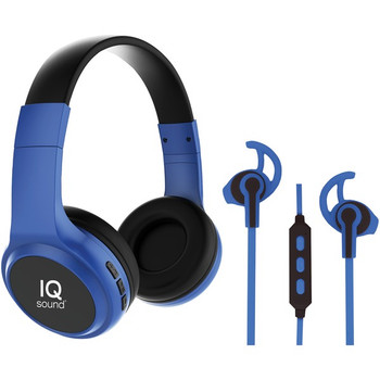 2-in-1 Bluetooth(R) Headphones/Earbuds with Microphone Combo (Blue)