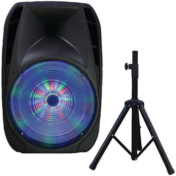 """15"""" Portable Bluetooth(R) DJ Speaker with Stand"""