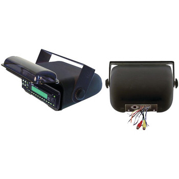 Universal Marine Stereo Housing with Full Chassis-Wired Casing (Black)