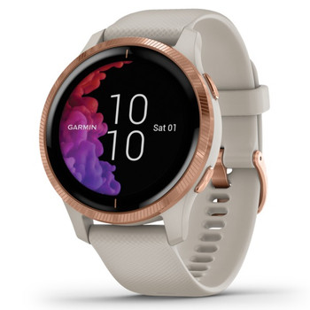 Venu(TM) GPS Smartwatch (Rose Gold Stainless Steel Bezel with Light Sand Case and Silicone Band)