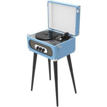 Bluetooth(R) Retro Turntable with Stand & FM Radio (Blue)