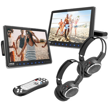 10.5-Inch Universal Headrest Monitors with DVD Players, IR and FM Transmitters and Wireless Headphones