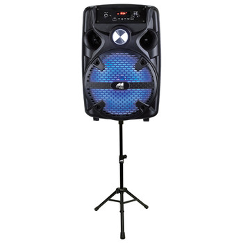 Sound Pro 8-Inch 2,000-Watt Portable Bluetooth(R) Speaker with Disco Lights, Stand, and Microphone
