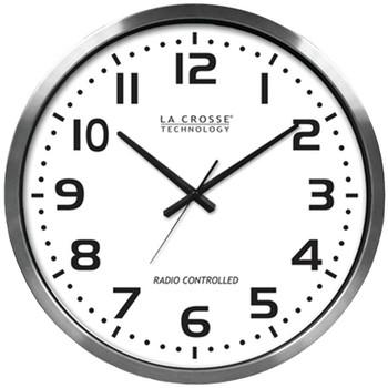 "20"" Brushed Aluminum Atomic Wall Clock"