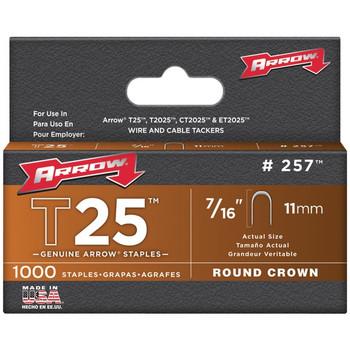 T25(TM) Round Crown Staples, 1,000 Pack (7/16 Inch)